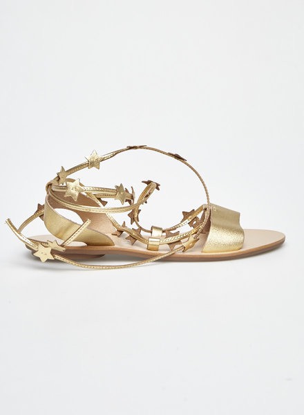 Loeffler Randall STARLA GOLD-TONE STAR-EMBELLISHED LEATHER STRAPPY SANDALES