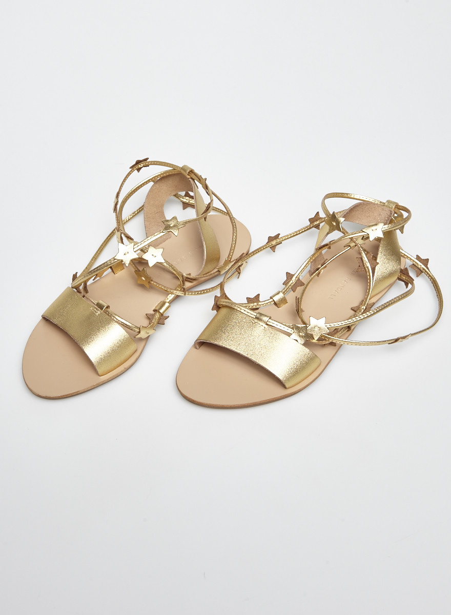 Loeffler Randall Starla Gold-Tone Star-Embellished Leather Strappy Sandals