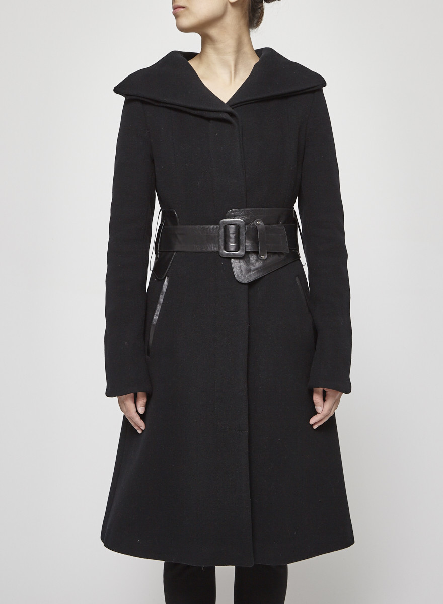 Mackage Long Black Coat With Leather Belt