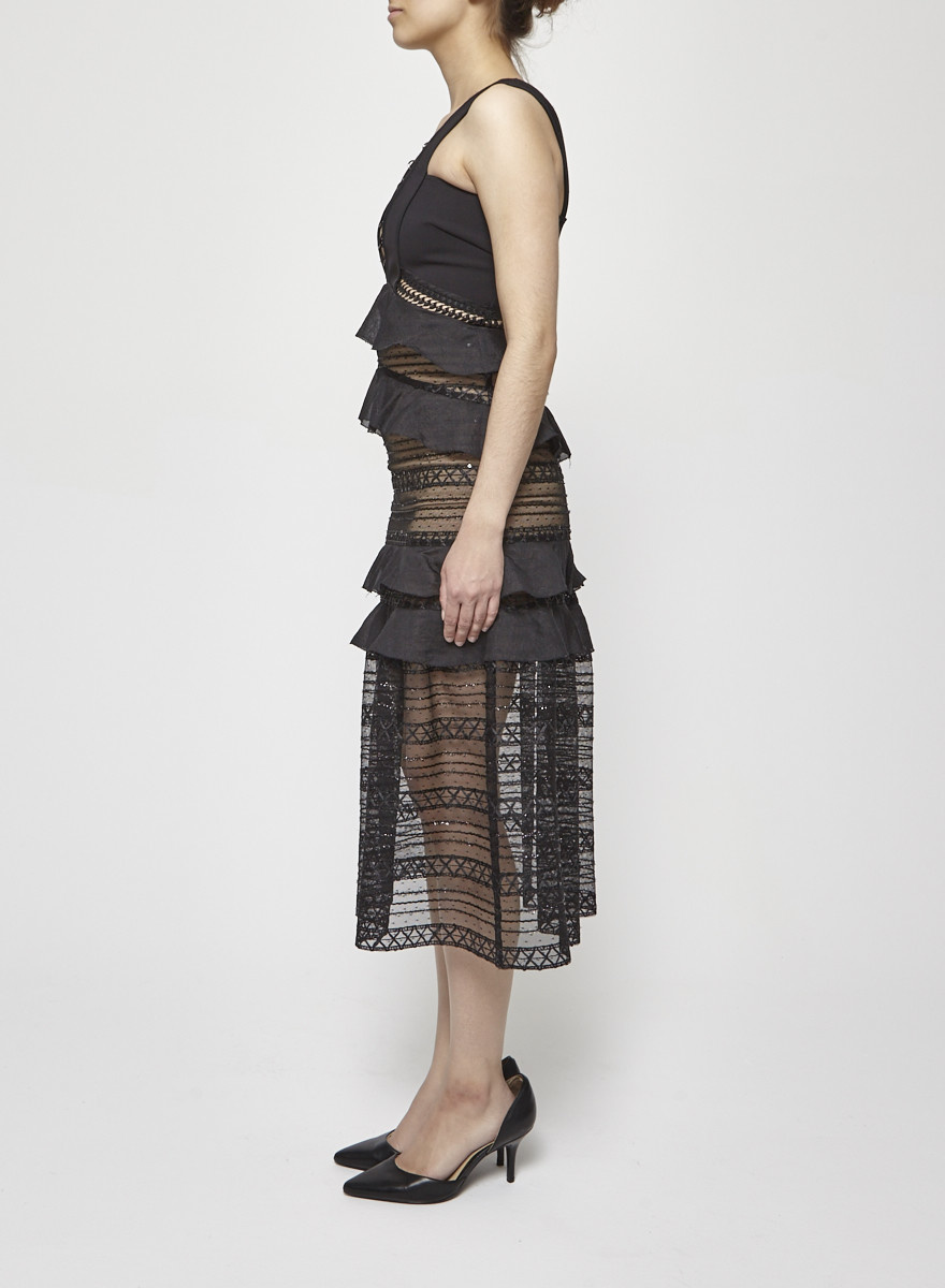 Self-Portrait Tulle Dress With Ruffles And Glitters