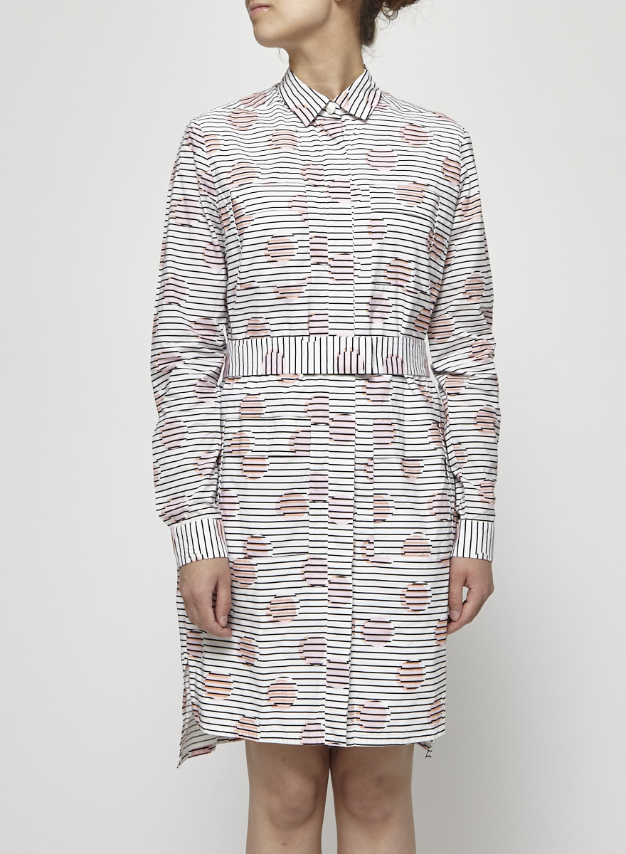 Kenzo Robe chemise noir et blanc à rond rose