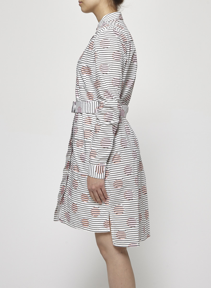 Kenzo Black and White Shirt Dress with Pink Dots
