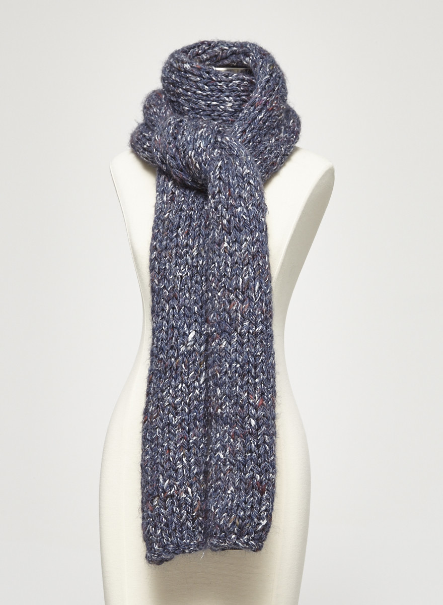 M0851 Blue Speckled Merino Wool Scarf