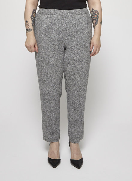 Ellen Tracy GREY TWEED-EFFECT PANTS WITH AN ELASTIC WAISTBAND