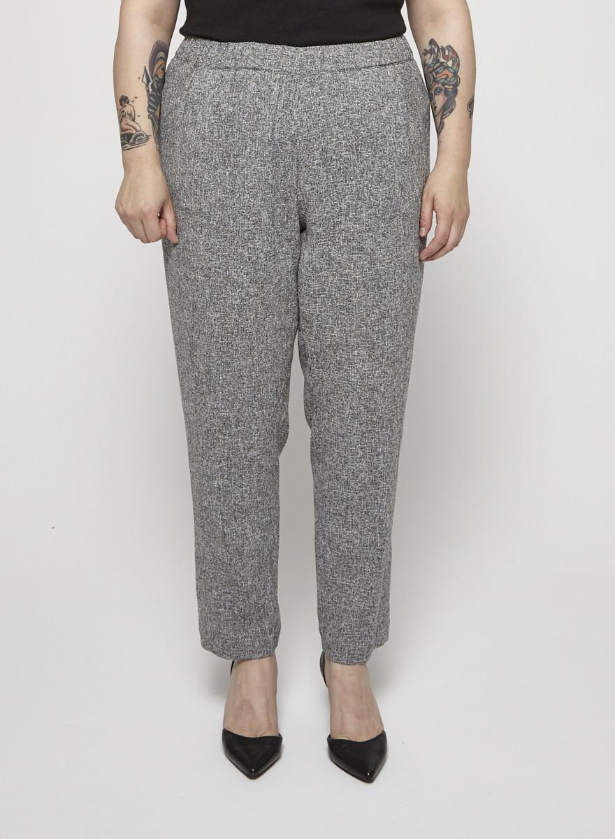 Ellen Tracy Grey Tweed-Effect Pants with an Elastic Waistband