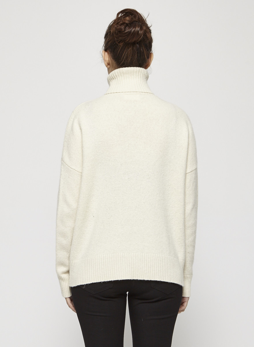 My Sunday Morning White Wool Turtleneck Sweater