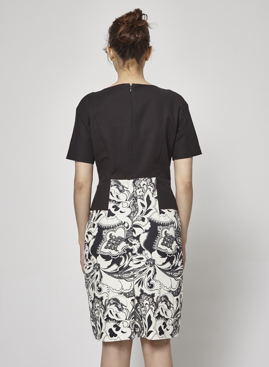 ETRO Baroque Print Black and White Dress