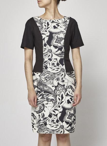 ETRO BAROQUE PRINT BLACK AND WHITE DRESS