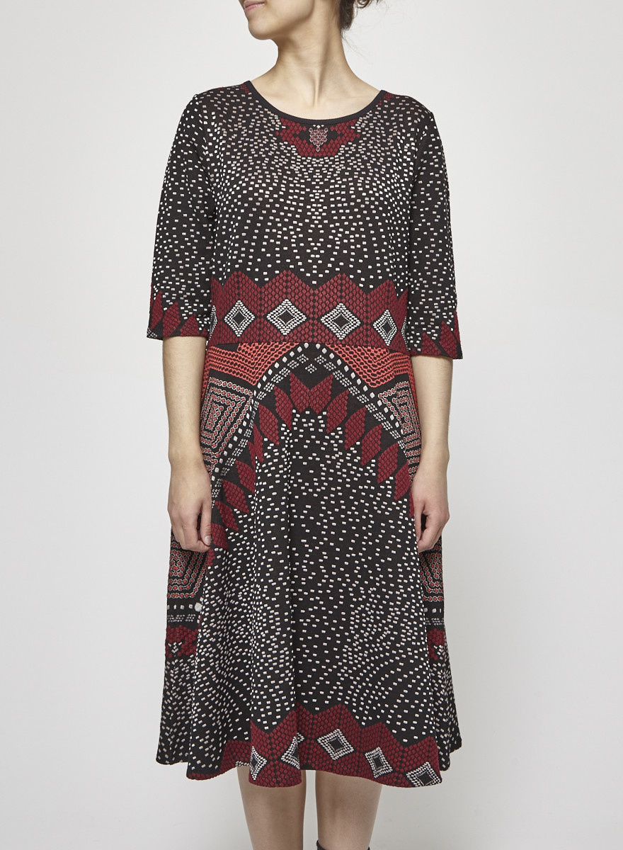 Nadya Toto Geometric Print Knitted Dress