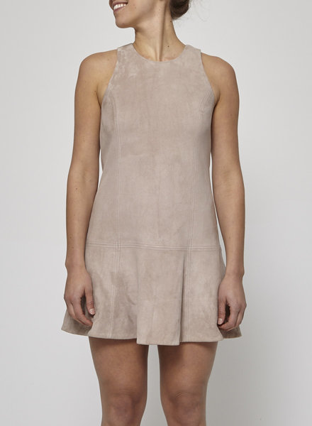 Joie FLARED SUEDE PINK DRESS