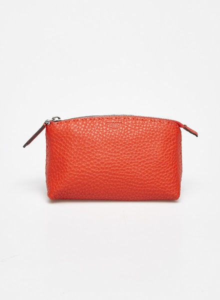 Fendi SMALL RED TEXTURED-LEATHER BEAUTY CASE