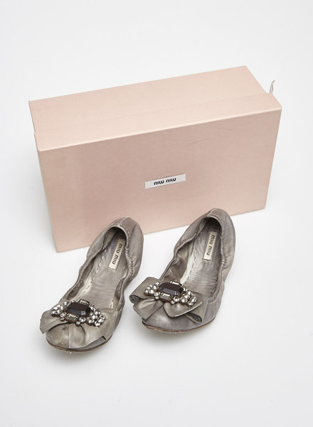 Miu Miu GREY EMBELLISHED LEATHER FLAT SHOES