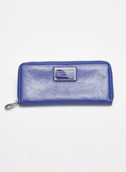 Marc by Marc Jacobs BLUE AND GREY TEXTURED-LEATHER WALLET