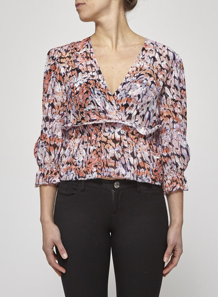 Iro PINK PRINT & GOLD THREADS TOP - NEW WITH TAGS