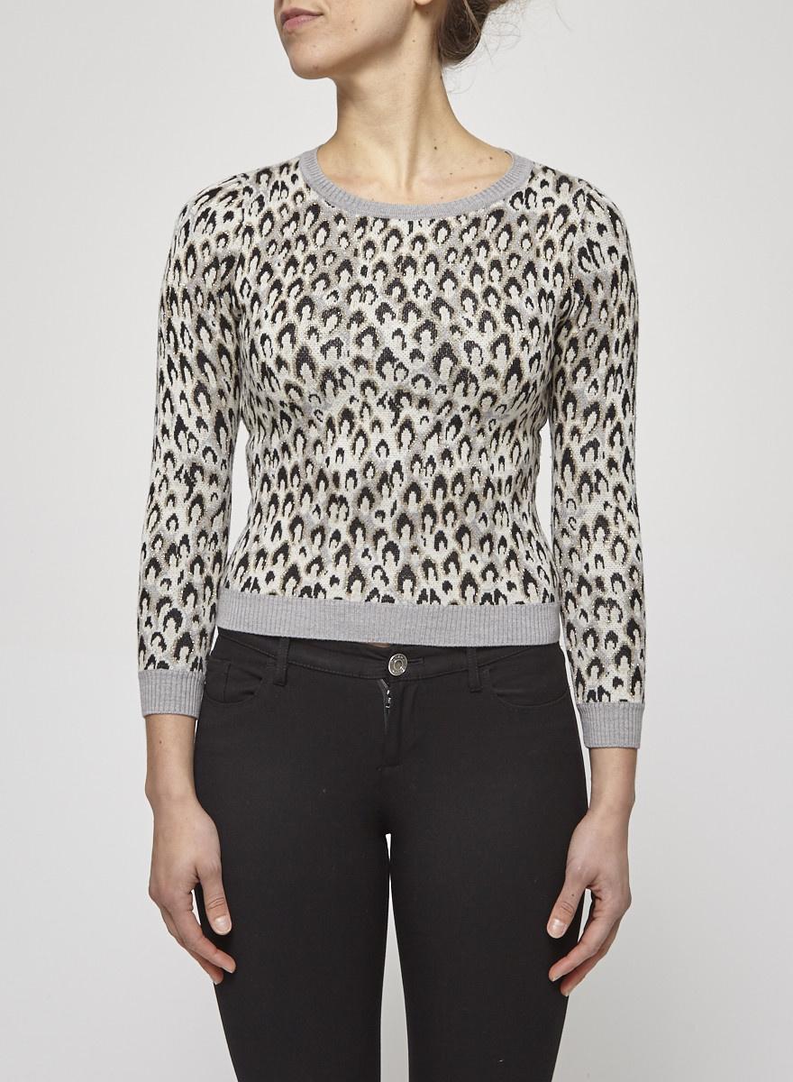 Diane von Furstenberg Long Sleeves Leopard Print Sweater
