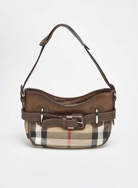 Burberry SMALL BURBERRY CHECKED CANVAS AND LEATHER BAG