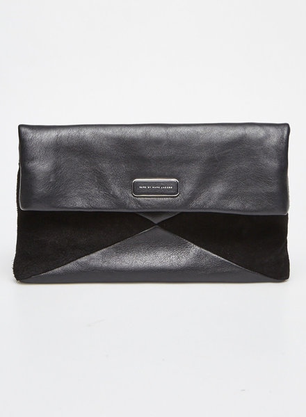 Marc by Marc Jacobs BLACK LEATHER AND SUEDE CLUTCH