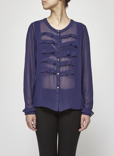 By Malene Birger DARK BLUE SILK BLOUSE