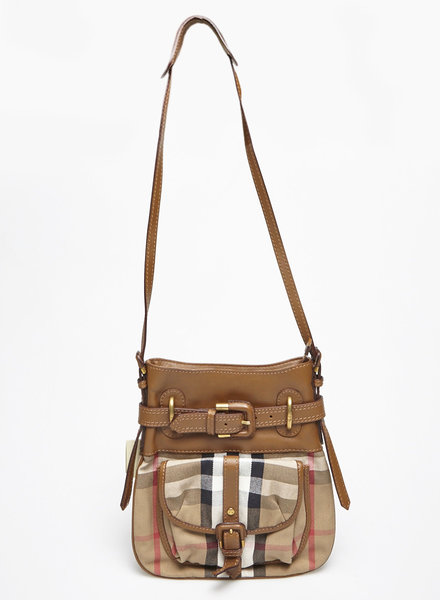 Burberry BURBERRY CHECKED CANVAS AND LEATHER BAG - NEW