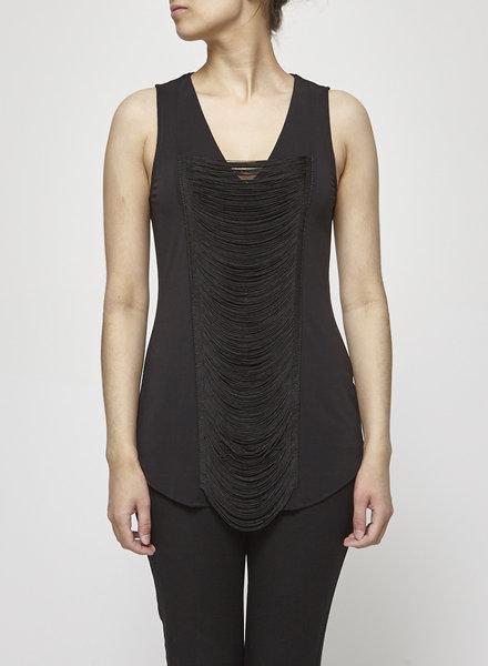 Iris Setlakwe V NECKED BLACK FRINGED TOP