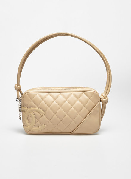 Chanel SMALL BEIGE QUILTED LEATHER HANDBAG