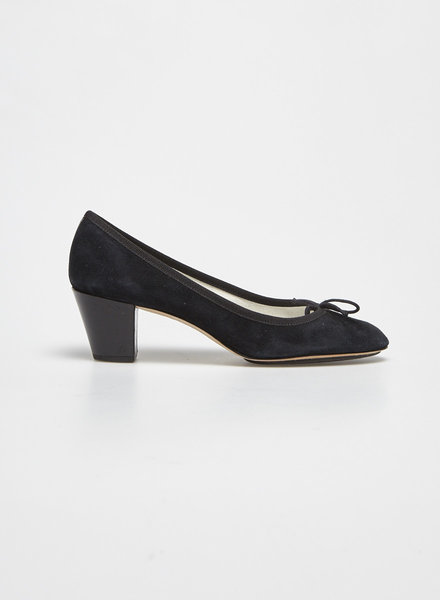 Repetto BLACK SUEDE PATENT-HEELED PUMPS