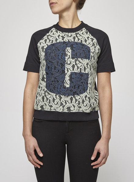 Carven BLACK TOP WITH FRONT LACE YOKE