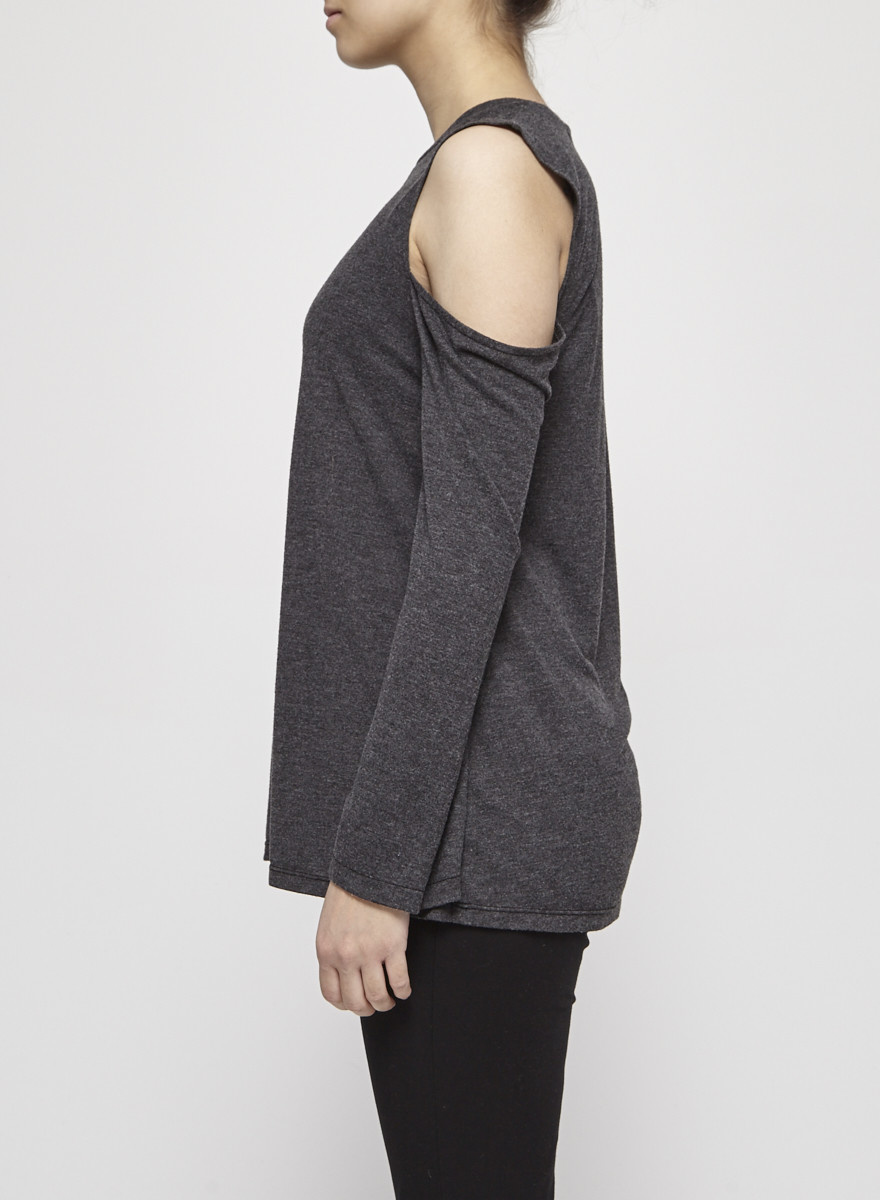 Iro Grey Cold Shoulder Sweatshirt