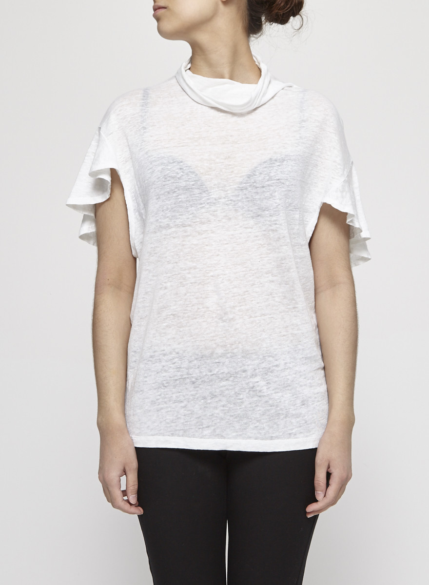 Iro NEW PRICE (WAS $95) - White Cowl Neck Ruffled Linen Top