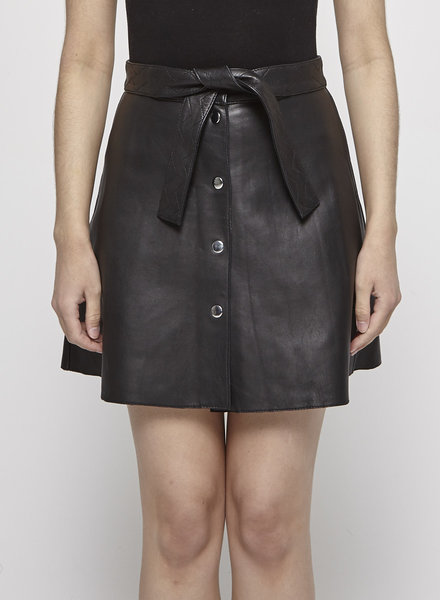 Maje BLACK A-LINE BUTTONED LEATHER SKIRT