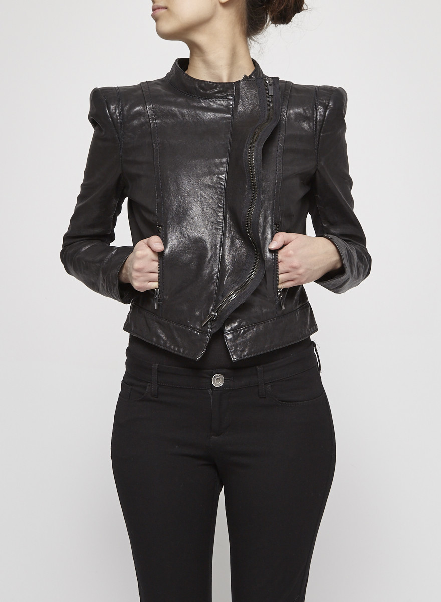 BCBG Max Azria Black Ruffled Leather Perfecto Jacket