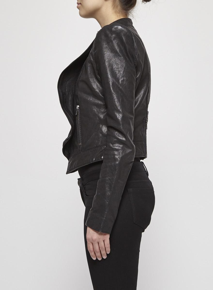 BCBG Max Azria Veste perfecto en cuir noire à volant