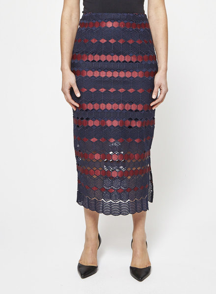 Sandro HEXAGON PATTERNS RED AND BLUE LONG SKIRT