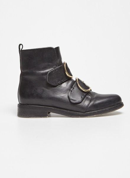Maje BLACK GOLD-TONE BUCKLED LEATHER BOOTS