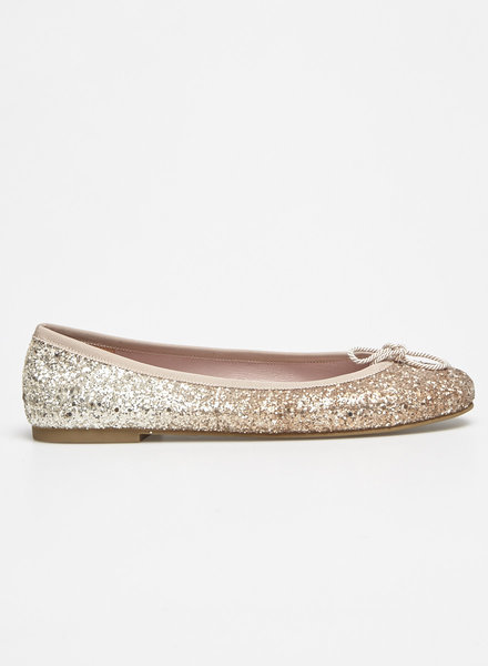Pretty Ballerinas ROSE AND GOLD-TONE GLITTERED BALLET FLATS