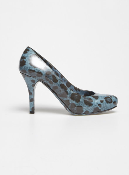 Dolce & Gabbana BLUE LEOPARD-PRINT PATENT LEATHER PUMPS