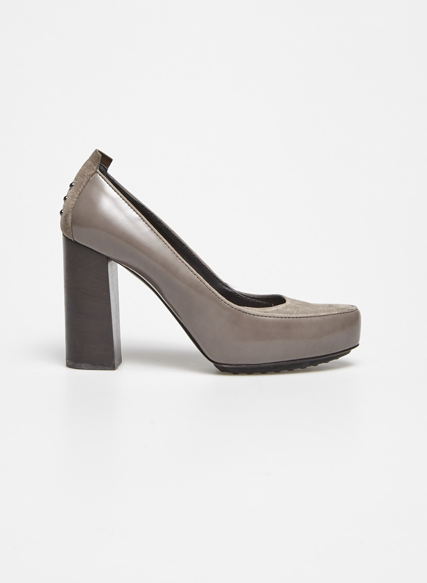 TOD'S Grey Leather and Suede Pumps