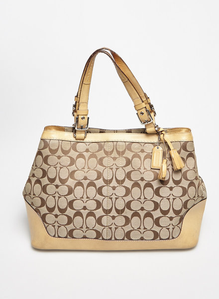 Coach BEIGE LEATHER AND MONOGRAM CANVAS HANDBAG