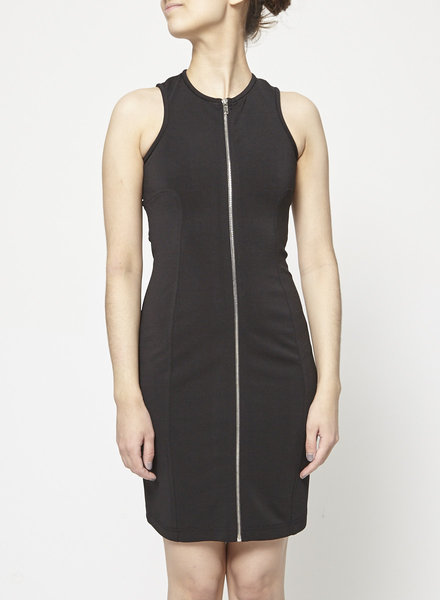 Alexander Wang BLACK SLEEVELESS DRESS WITH LATTICE BACK STRAPS