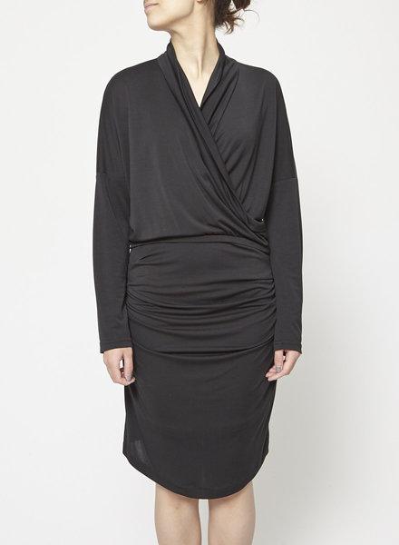 Eve Gravel BLACK DRAPED DRESS