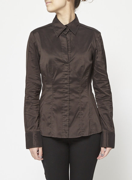 BOSS Hugo Boss BROWN TROMPE-L'OEIL COTTON SHIRT