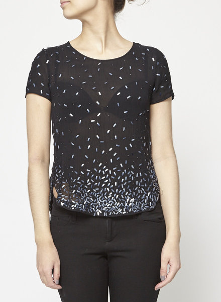 Theory BLACK PEARL-EMBELLISHED SEE-THROUGH SILK TOP