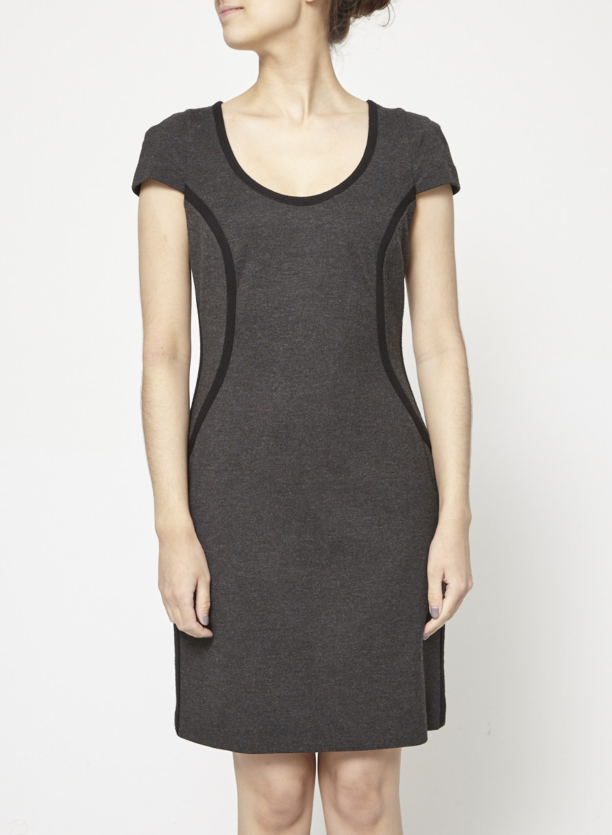 Judith & Charles Gray Dress with Short Sleeves