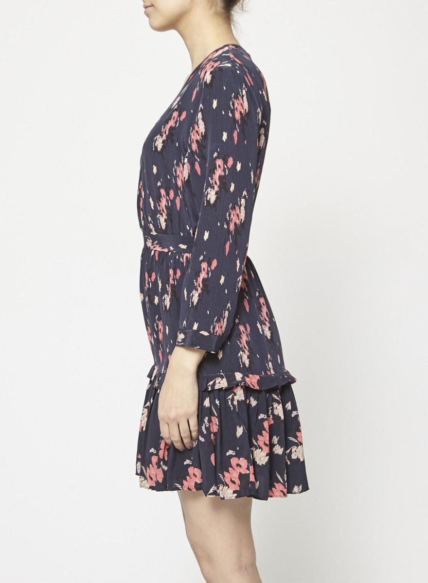 AllSaints Flower-Print Silk Dress