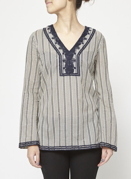 Tory Burch SALE - BLACK AND WHITE EMBROIDERED PRINTED CAFTAN TOP