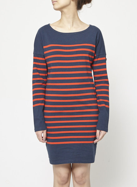 Scotch & Soda SALE - RED AND NAVY STRIPED COTTON DRESS