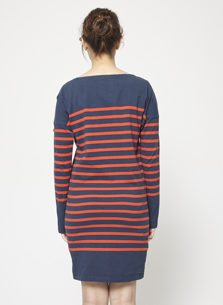 Scotch & Soda Red and Navy Striped Cotton Dress