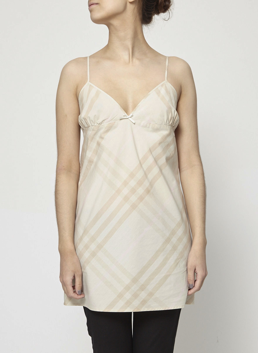 Burberry Beige Burberry Checked Cotton Slip Dress