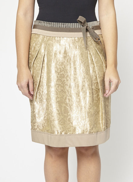 Philosophy di Alberta Ferretti GOLD-TONE BROCADE SKIRT