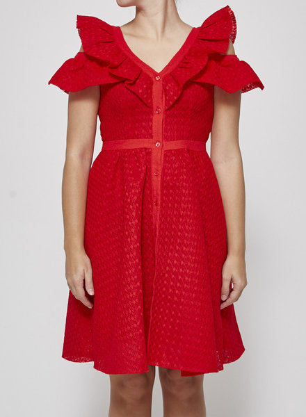 Maje RED COLD SHOULDER LACE DRESS